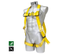 Fall arrest harness coated with polyurethane
